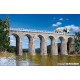 Aachtal-viaduct with ice breaking pillars, single track (H0)